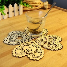 Creative kitchen multi-function heat insulation cup mat table bowls wood pad 10*10cm free shipping