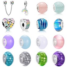 CUTEECO Silver Plated Sweet Romantic Rainbow Heart Charm Beads Fit Original Pandora Bracelets Pendant Women Jewelry Accessories