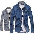 korean fashion cotton men shirt blue turn down collar sexy mens slim fit casual Camisa Masculina shirts