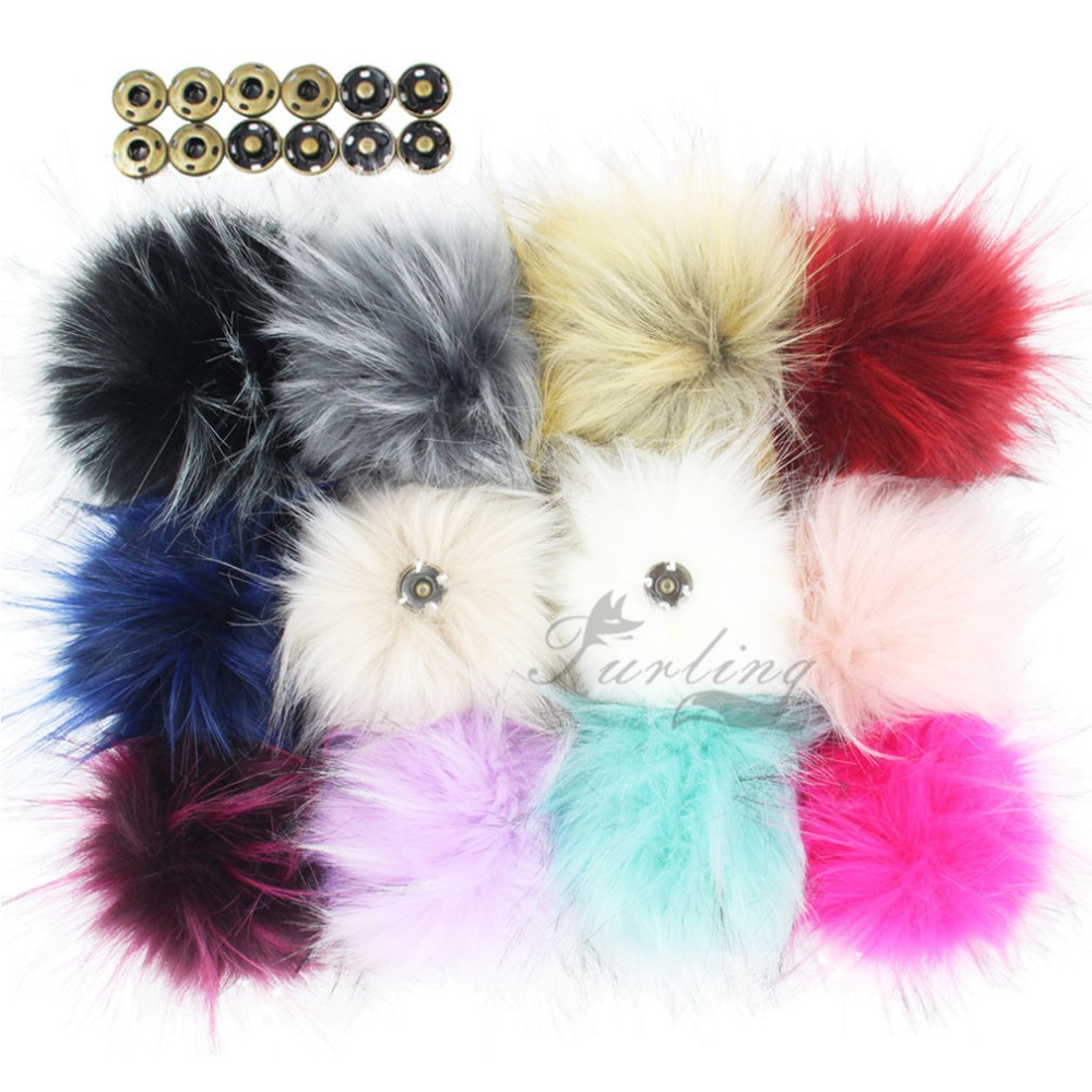 Furling 1PC Fluffy Faux Raccoon Fur 11CM Pom Poms Ball with Press Stud/Button for Beanie Hat DIY Accessories