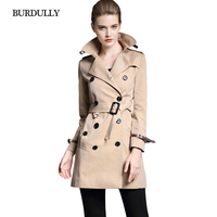 BURDULLY Spring 2018 British Style Slim Long   Trench   Coat For Women Winter Casual Autumn Double Breasted Coat Business Outerwear