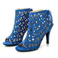 Мода на высоких каблуках синий гладиаторские сандалии женщин лепнина летние туфли женщина