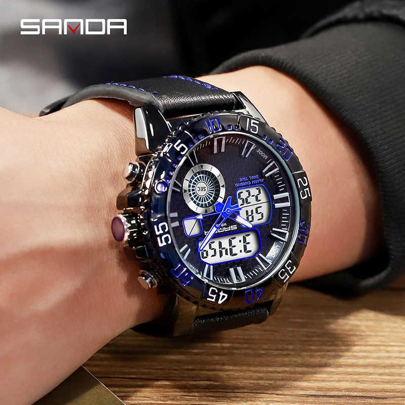 SANDA יוקרה מותג גברים אנלוגי דיגיטלי עור ספורט שעונים גברים של צבא צבאי שעון יד איש קוורץ שעון Relogio Masculino