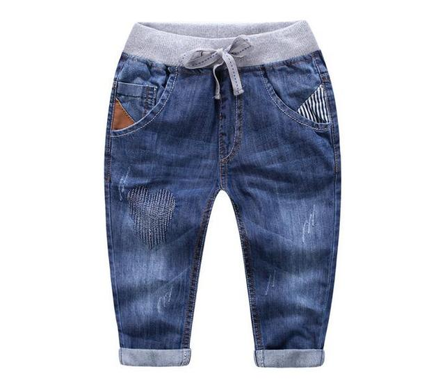 31c2e6d6958 Y2342334 Spring Baby Boy Jeans Distressed Solid Boy Pants Denim Regular Boy  Clothes Casual Kids Clothes