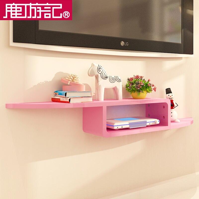 Deer travel wood bedroom TV set top rack shelf wall shelf decorative ...
