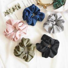 цена на Women Hair Scrunchies Tie Elastic Hair Bands Pure Color Headwear Scrunchie Hair Rope Ponytail Holder Lady Girls Hair Accessories
