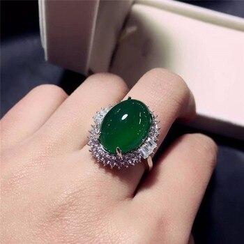 Корейское изящное ювелирное изделие из серебра 925 пробы, инкрустированное круглым зеленым халцедоном, благородное кольцо в подарок, бесплатная доставка алиэкспресс