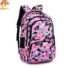 Ziranyu mochila feminina impermeável, mochila escolar leve para meninas, bolsas de impressão para crianças, meninas adolescentes