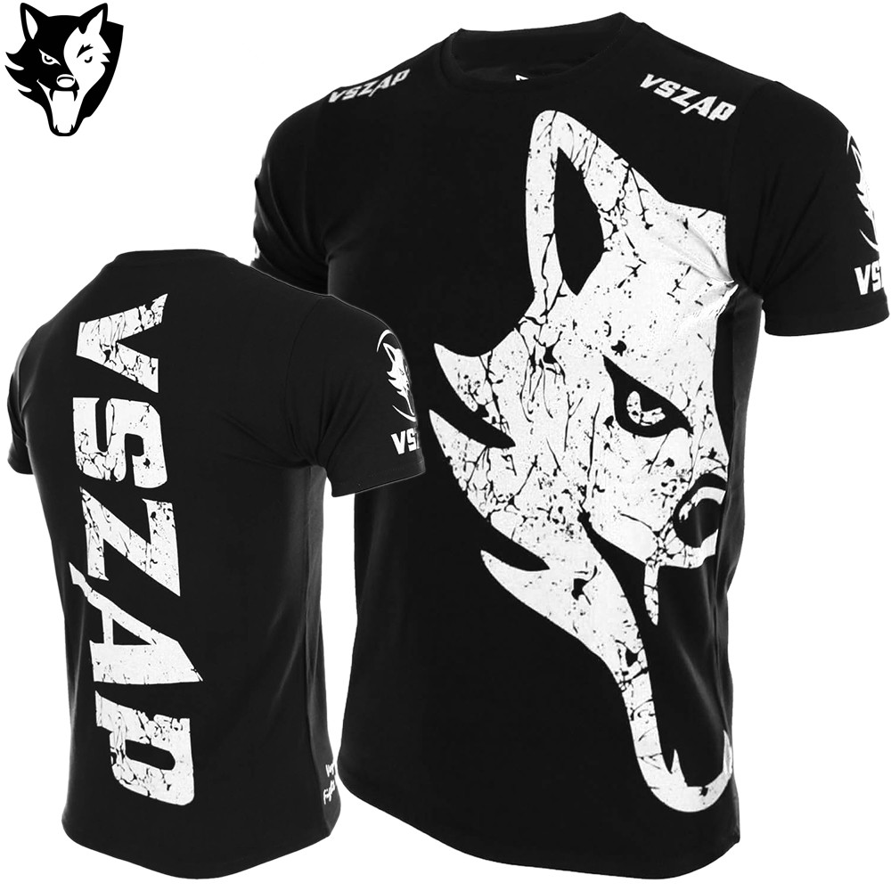 VSZAP Fighting Wolf Fighting MMA Sanda Short Sleeve T Shirt Fitness Gym Martial Arts Wind Muay Thai Kick Boxing T Shirt