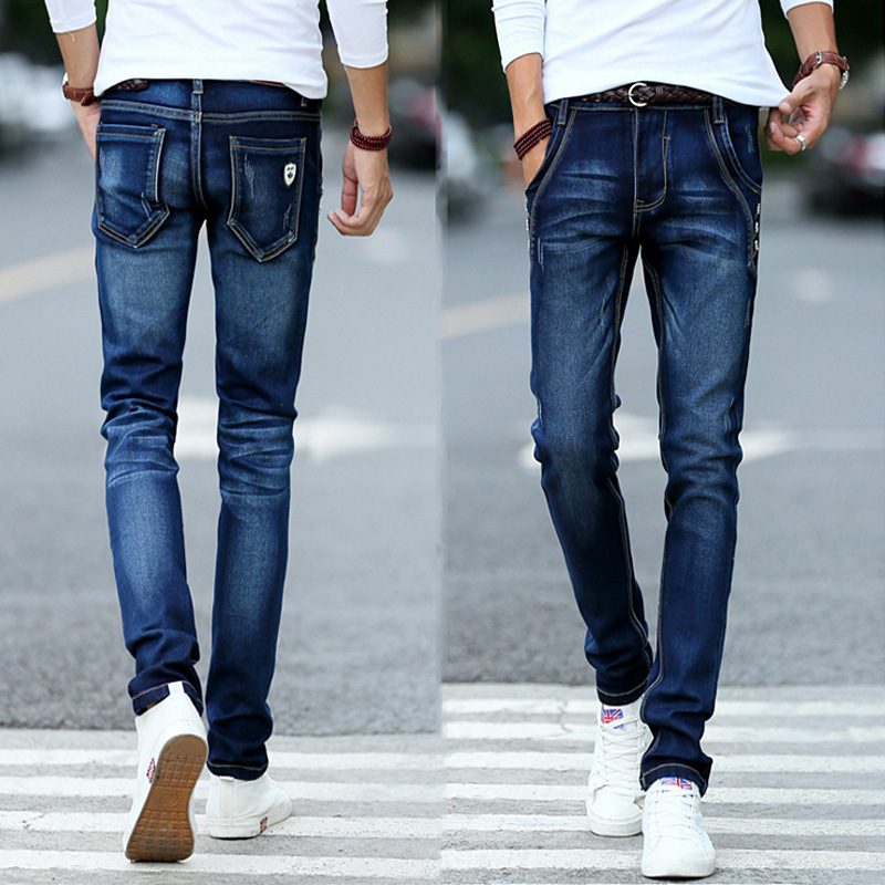 Men's Brand Jeans Close-fitting Jean for Men Denim Trousers Casual Style Pencil Pants Straight Mid Waist Young Men Long Pants women girls casual vintage wash straight leg denim overall suspender jean trousers pants dark blue
