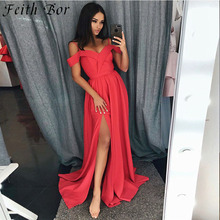 2019 Graceful Red Satin Long Gowns Off The Shoulder Spaghetti Straps Full Length Side Split Light Sky Blue Red Women Party Dress sky blue stripe off the shoulder 3 4 length sleeves bodycon dress