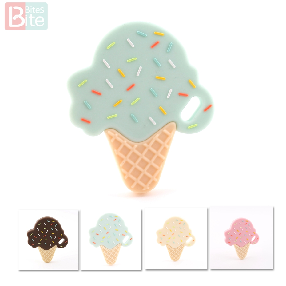 Bite Bites 1pc Silicone Teether Baby Teething Ice Cream Mint Pendant Chewing Silicone Beaded Bracelet BPA Free Baby Teether