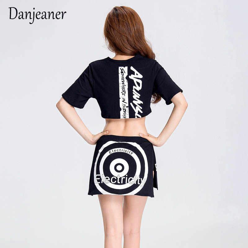 Danjeaner nowa moda kobieta Sexy topy + spódnice Ds kostiumy prowadzić tancerz klub nocny piosenkarka odzież Jazz wydajność kostium taneczny
