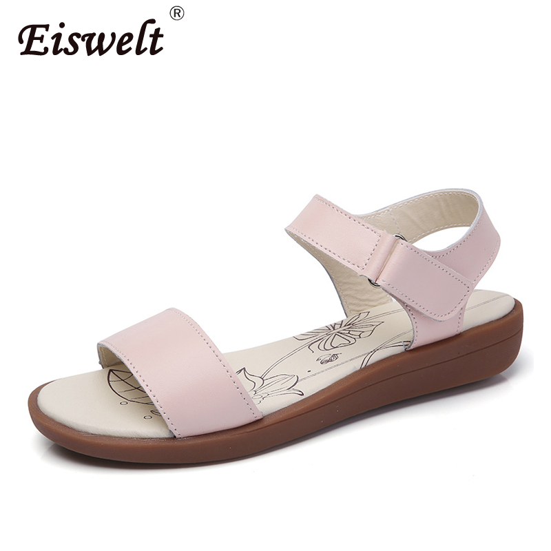 EISWELT Female Sandals Summer Fashion Women's Shoes Flat Ladies Beach Sweet Casual Wild Sewing Fashion Women Leather Sandals new casual women sandals shoes summer fashion slip on female sandals bohemian wild ladies flat shoes beach women footwear bt537