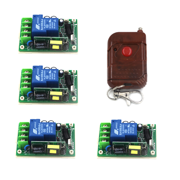 Sans fil 2 Façons De Travail SUR/OFF AC 85 V-250 V 30A 1CH Lampe Commutateur de Commande À Distance 4 récepteur + 1 Émetteur SKU: 5301