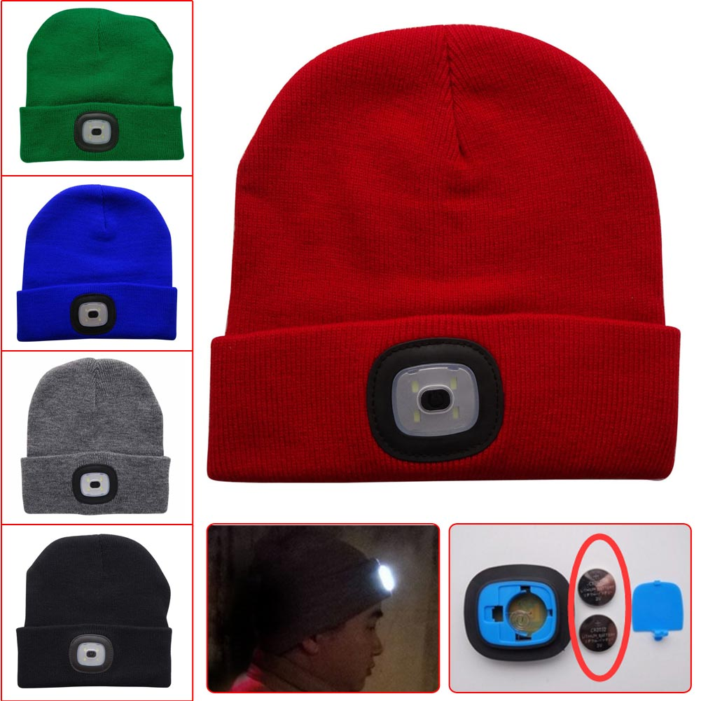 Warm Hat 4 LED Knit Hands Free Flashlight Headlamp Cap Hat Outdoor Camping  Climbing Fishing Beanies Knitted Hat cea4e77dea0
