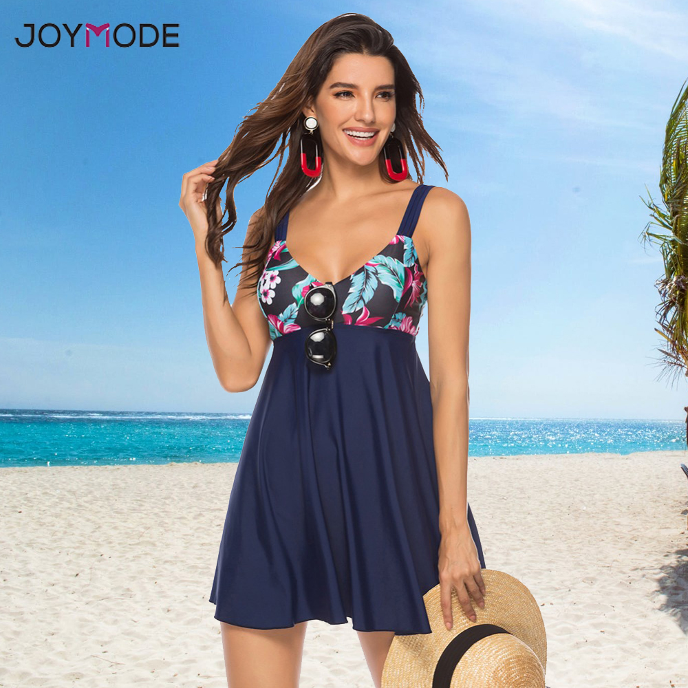 JOYMODE Two Piece Bikini Skirt Plus Size <font><b>5XL</b></font> Swimsuit Women Bath Suit Dress <font><b>Mujer</b></font> <font><b>Sexy</b></font> BeachWear Brazilian Tankini Swim Dress image