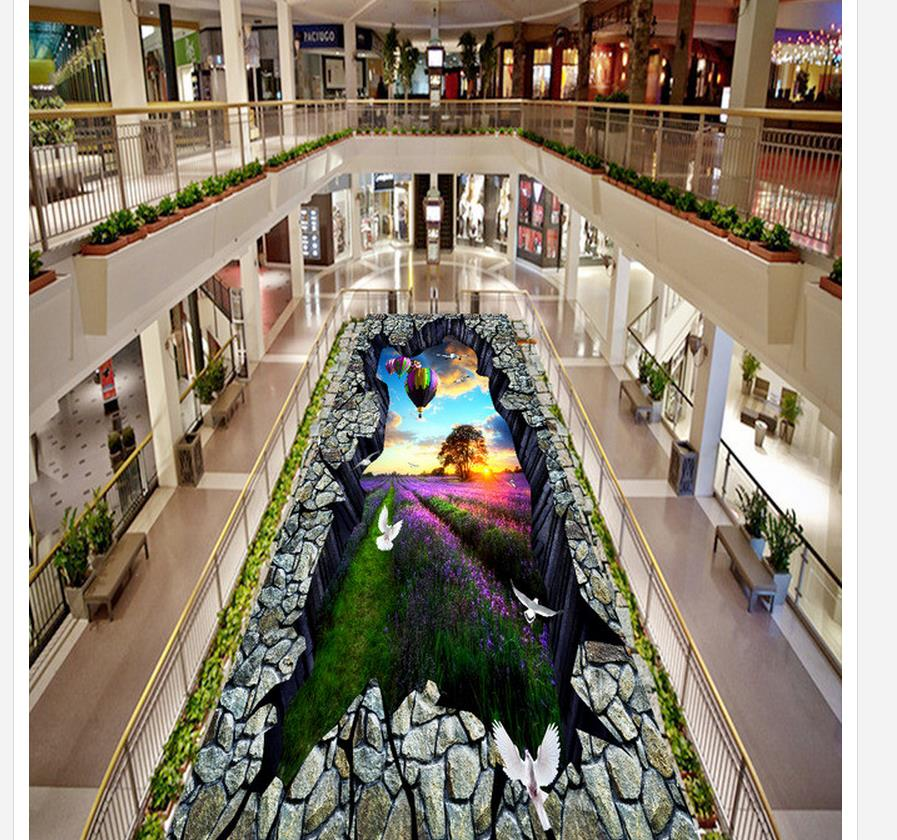 3d wallpaper pvc Lavender Manor landscape 3D dimensional painting street painting outdoors floor 3d wallpaper