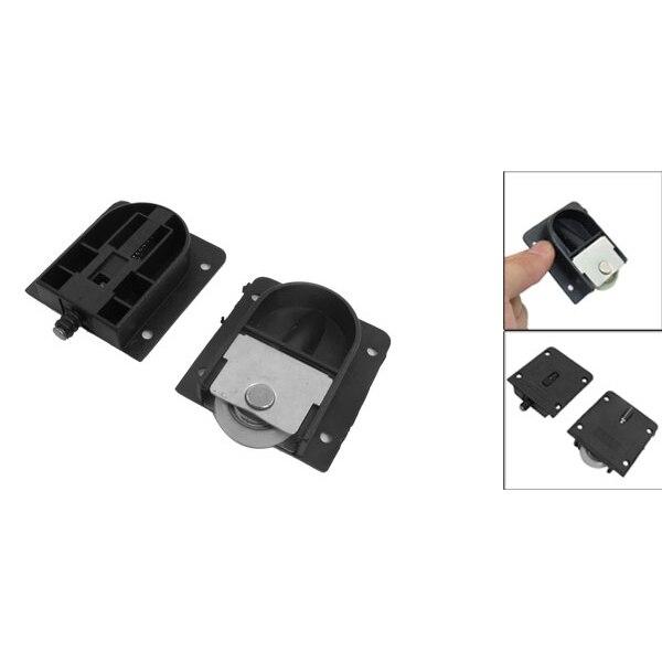 Nuovo 3.5mm/0.14 Armadio Nero Piatto di Plastica 25mm Dia Ruota Sliding Door RollerNuovo 3.5mm/0.14 Armadio Nero Piatto di Plastica 25mm Dia Ruota Sliding Door Roller