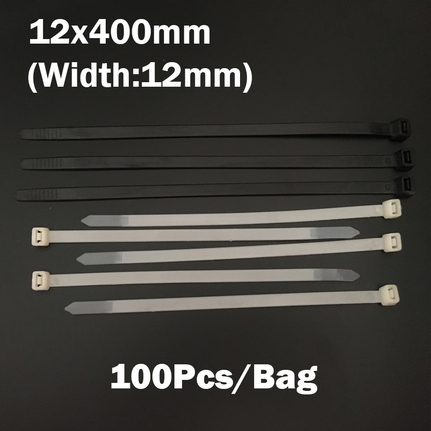 12*400mm 12x400mm (12mm Width) Black White Network Wire String Self-Locking Nylon Plastic Strap Wrap Fasten Zip Ties Cable Tie 500 250pcs 4x150 180 200 250 300 350 mm black white yatai brand plastic self locking nylon cable tie plastic ribbon installed