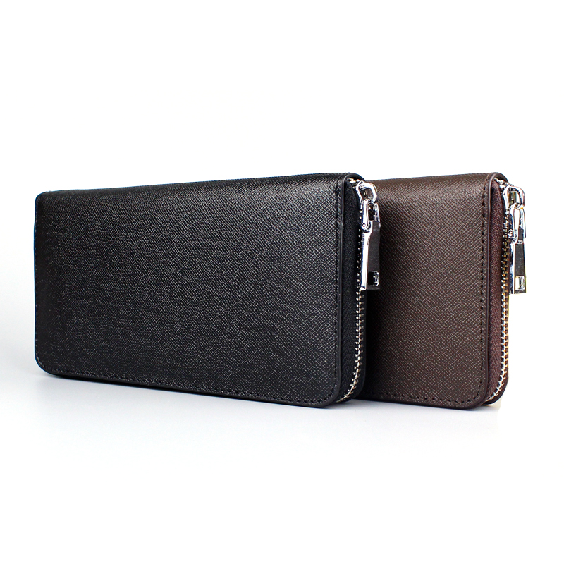 Fashion Genuine Leather Men Wallet Long Zipper High Quality Business Wallets Male Large Capacity Clutch Coin Purse Card Holder men wallet male cowhide genuine leather purse money clutch card holder coin short crazy horse photo fashion 2017 male wallets
