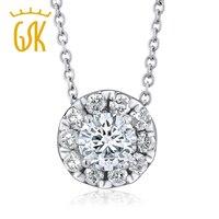 0 50ctw Round Brilliant Natural Diamond 14K White Gold Halo Pendant On 16 Chain