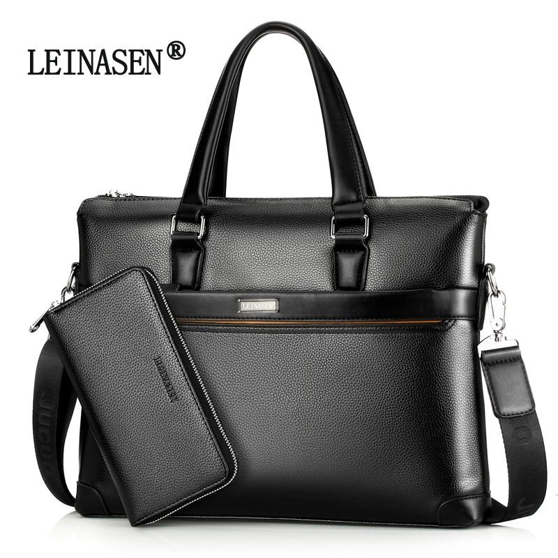 Business Briefcase Laptop-Bag Document-Bag Portfolio Office-Handbag Shoulder Crazy-Horse
