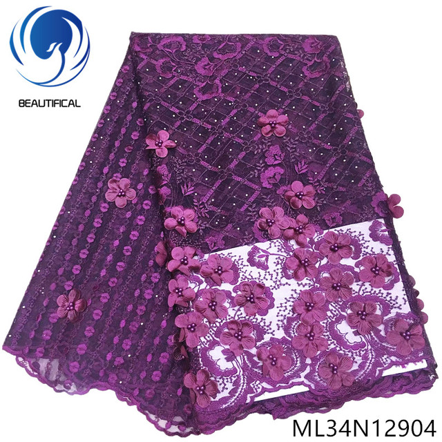 BEAUTIFICAL 3d french lace fabric tulle fabrics nigerian wedding embroidery lace fabric 3d 2019 ML34N129