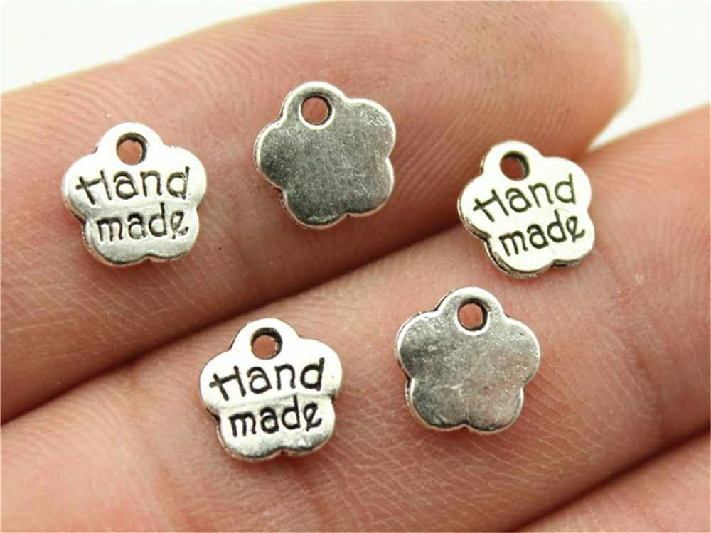 40 قطعة 3 ألوان يدوية قلادة جالبة للحظ لصنع المجوهرات لتقوم بها بنفسك العتيقة الفضة يدوية دلايات حلية يدوية صغيرة 8 مللي متر