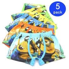 5 Pcs/lot Cartoon Boys Underwear Soft Breathable Kids Boxer For 3-11T B