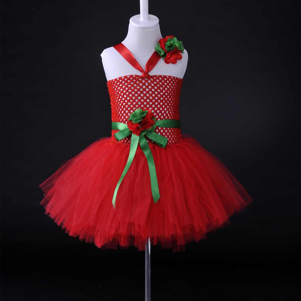 Handmade Flower Girl Tutu Dress Tulle Red Party Girls Dress Christmas Birthday Halloween Costume For Kids Dresses Vestido Menina moeble 2017 baby witch costume halloween girl tutu dress kids fancy clothing for party handmade children tulle tutu dresses