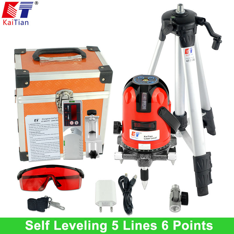 KaiTian Level Laser Tools with Tripod and Detector Tilt Function 360 Rotary 635nM 5 Lines 6 Points Self Leveling EU Lazer Level