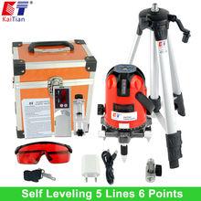KaiTian Level Laser Werkzeuge mit Stativ und Detektor Tilt Funktion 360 Rotary 635nM 5 Linien 6 Punkte Fließe EU Lazer Ebene