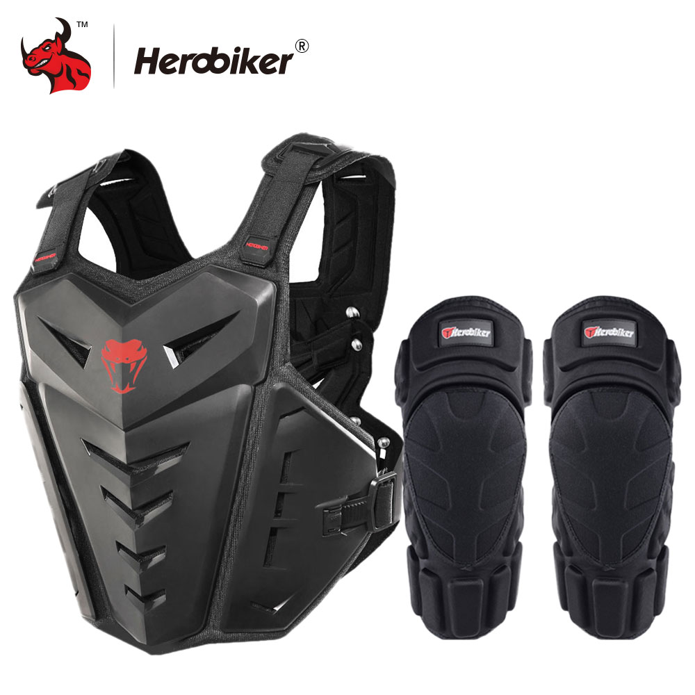 HEROBIKER Motorcycle Armor Vest Motorcycle Protection Motorcycle Riding Chest Armor Motocross Racing Vest & Motorcycle Knee Pads herobiker armor removable neck protection guards riding skating motorcycle racing protective gear full body armor protectors