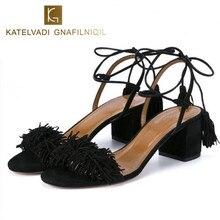 Brand Shoes Woman Flock Gladiator Sandals Women Summer Lace Up Sandals Thick Heels Fringe Summer Beach Women Sandals B-0065