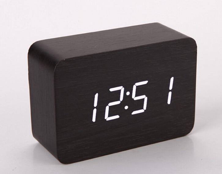Single Face Led Digital Alarm Clocks Bamboo Wood Sound