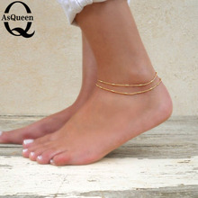 1PC Sexy Gold Tone Ankle Bracelet Double Layer Chain Foot Anklet HOT 2017