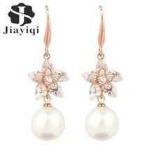 Jiayiqi(Jiayiqi) Fashion Dangle Earrings Gold Colored With Pearl Cubic zirconia Earrings for women Jewelry  Long Drop Earring