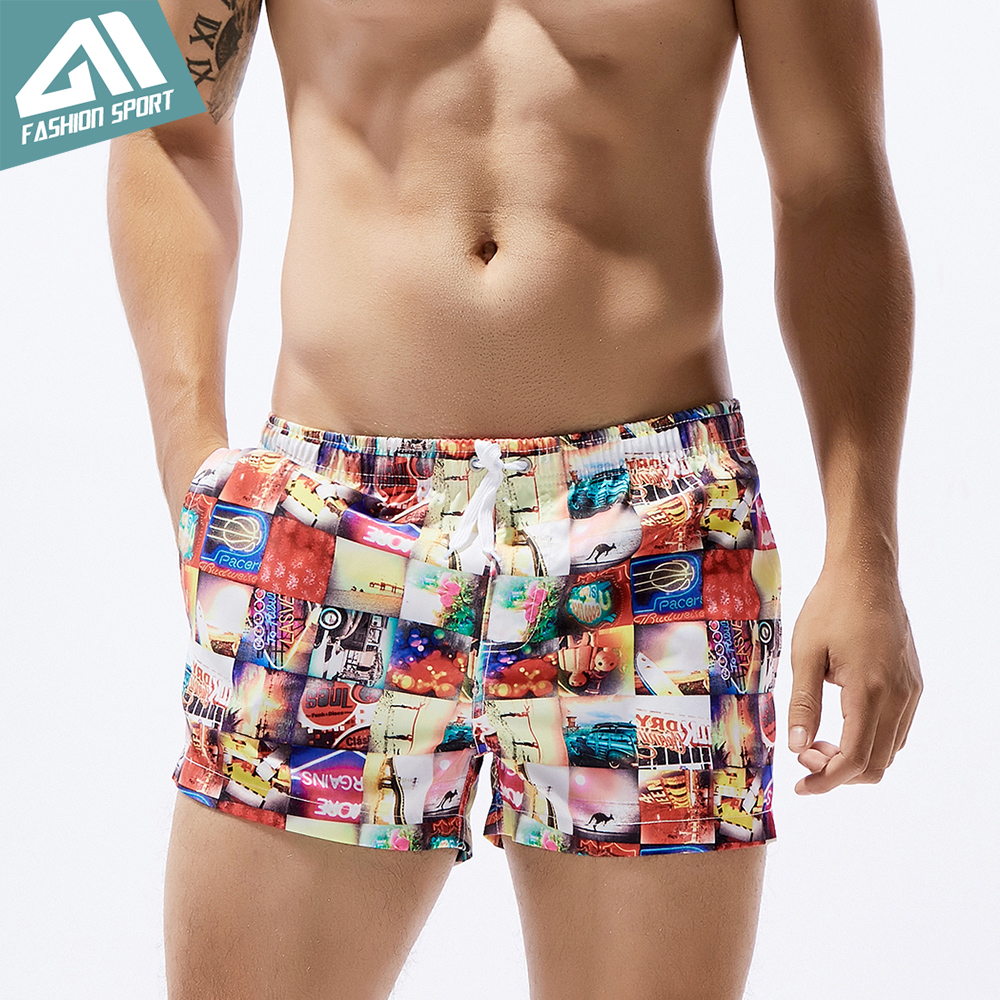 Seobean Summer Pattern Men's   Board     Shorts   13in Fixed Waist Swim Trunk Holiday Beach Fast Dry Men Swimming   Shorts   SE78