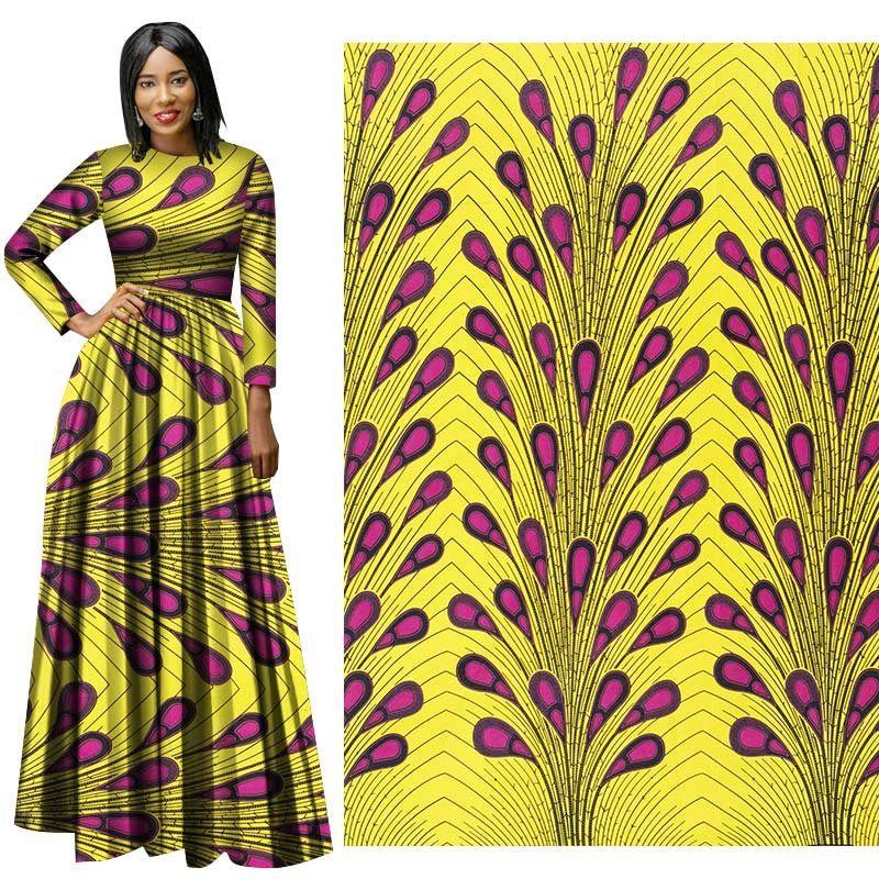 Me-dusa 2019 Latest colorful African Print Wax Fabric 100% cotton Hollandais Wax DIY Dress Suit cloth 6yards/pcs High quility(China)