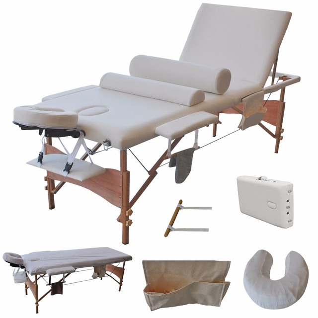 "3 Fold 84""L Portable Facial Bed Massage Table W/Sheet+Cradle Cover+ Bolsters 	HB79185WH"