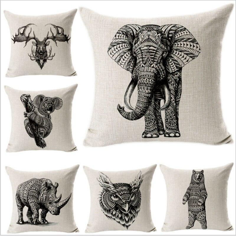 Federe Cuscini Con Animali.45 Cm 45 Cm Disegno Animali Elefante Orso Lino Cotone Cuscino