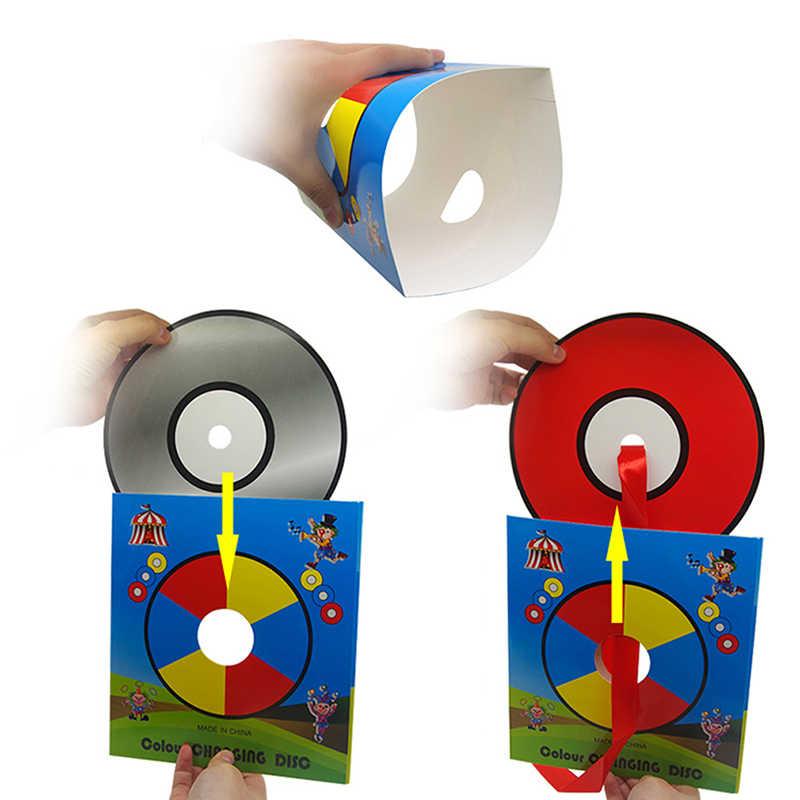 Nouveau CD changement de couleur dans le sac vide Magia magicien scène Gimmick Illusion accessoires changement de couleur Laser CD tours magiques
