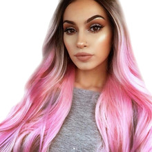 ISHOWTIENDA 360 Lace Wigs Salon Wigs Fashion Synthetic Long Wavy Gradient  Dyeing Natural Hair Full Wigs b91500470