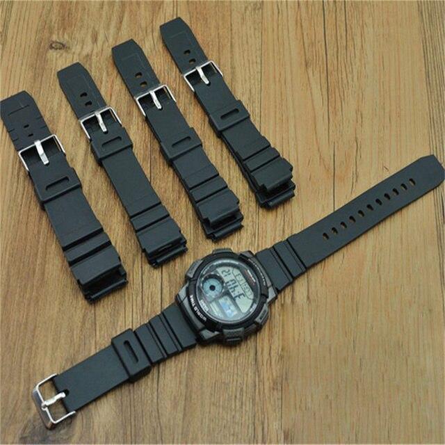 0a51f053b9b 1 pcs preto Silicone banda rubber band mergulho esportes homens preto para  CASIO substituir eletrônico relógio