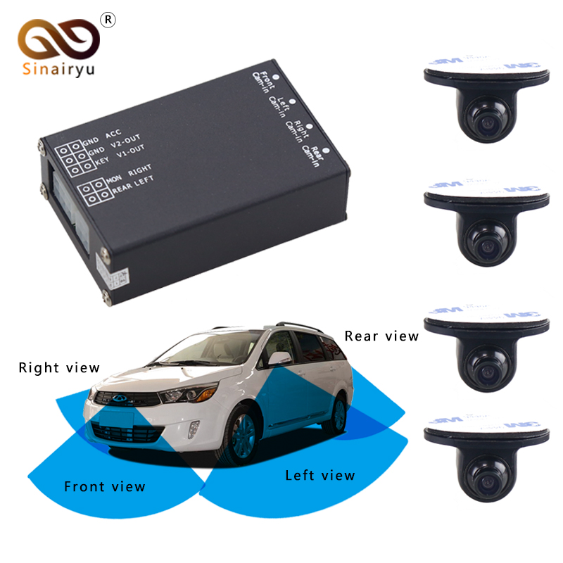Sinairyu 4Channel Image Switch Converter Control Box with 4 Front Rear Side View Cameras 360 Degrees View Parking Assistance Kit