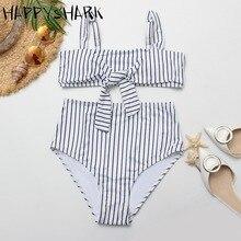 HAPPYSHARK Buckle High Waist Swimsuit 2019 New Hollow Out White Bikinis Butterfly Tie Biquinis Stripe Swimwear Summer Beachwear