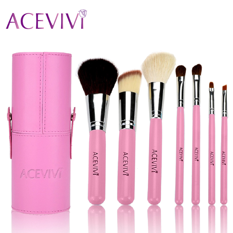 ACEVIVI Fashion Professional 7Pcs Makeup Cosmetic Brushes Tools Powder Foundation Blush Brush Brushes Set In Barrel Blue/Pink 7pcs makeup brushes professional fashion mermaid makeup brush synthetic hair eyebrow eyeliner blush cosmetic