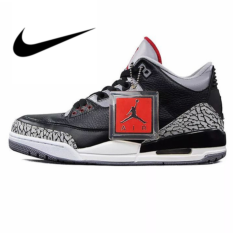 competitive price 2b218 0057d US $120.47 31% OFF|Nike Air Jordan 3 Black Cement AJ3 Men 's Basketball  Shoes Sport Outdoor Sneakers Athletic Designer Footwear 2018 New 854262  001-in ...
