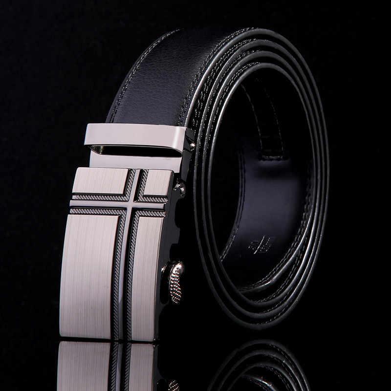 Известный бренд, Новый Мужской дизайнерский ремень с автоматической пряжкой, Воловья кожа, мужской ремень 110 см-130 см, роскошные ремни для мужчин Ceinture Homme